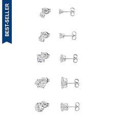 5-Pair CZ Stud Earring Set