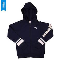 PUMA Girls' Logo Sleeve Full Zip Hoodie