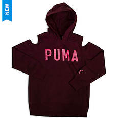 PUMA Girls' Cold Shoulder Pullover Hoodie