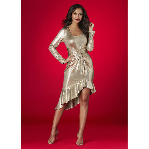 Metallic Ruffle-Hem Dress