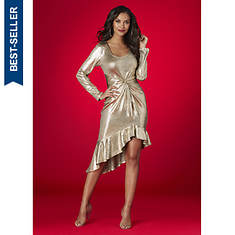 Metallic Ruffle-Hem Dress