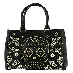 Loungefly Black And White Sugar Skull Laser Cut Tote Bag