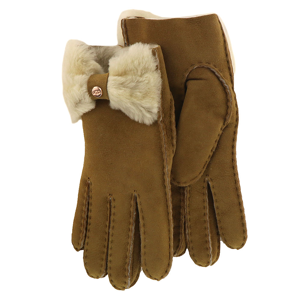 Vintage Style Gloves- Long, Wrist, Evening, Day, Leather, Lace UGG Womens Bow Shorty Glove Brown Misc Accessories L $154.95 AT vintagedancer.com