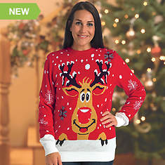 Ugly Christmas Sweater with Flashing LED Lights