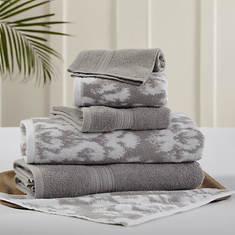 6-Piece Ikat Damask Towel Set