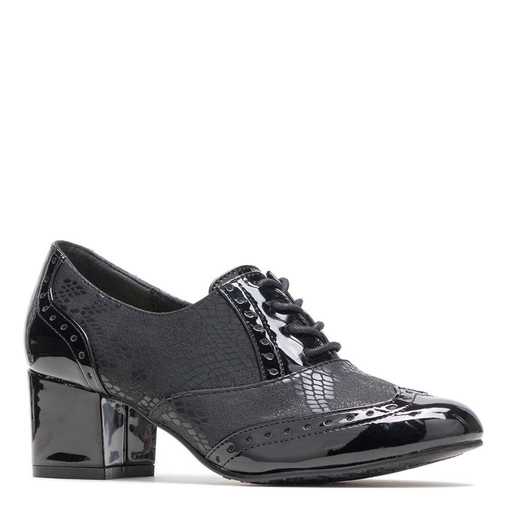 Retro Vintage Style Wide Shoes Soft Style Gisele Womens Black Pump 5.5 M $59.95 AT vintagedancer.com