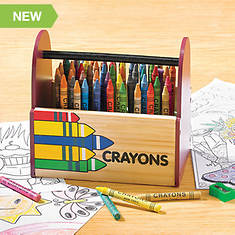 Personalized Wood Crayons Caddy with 64 Crayons