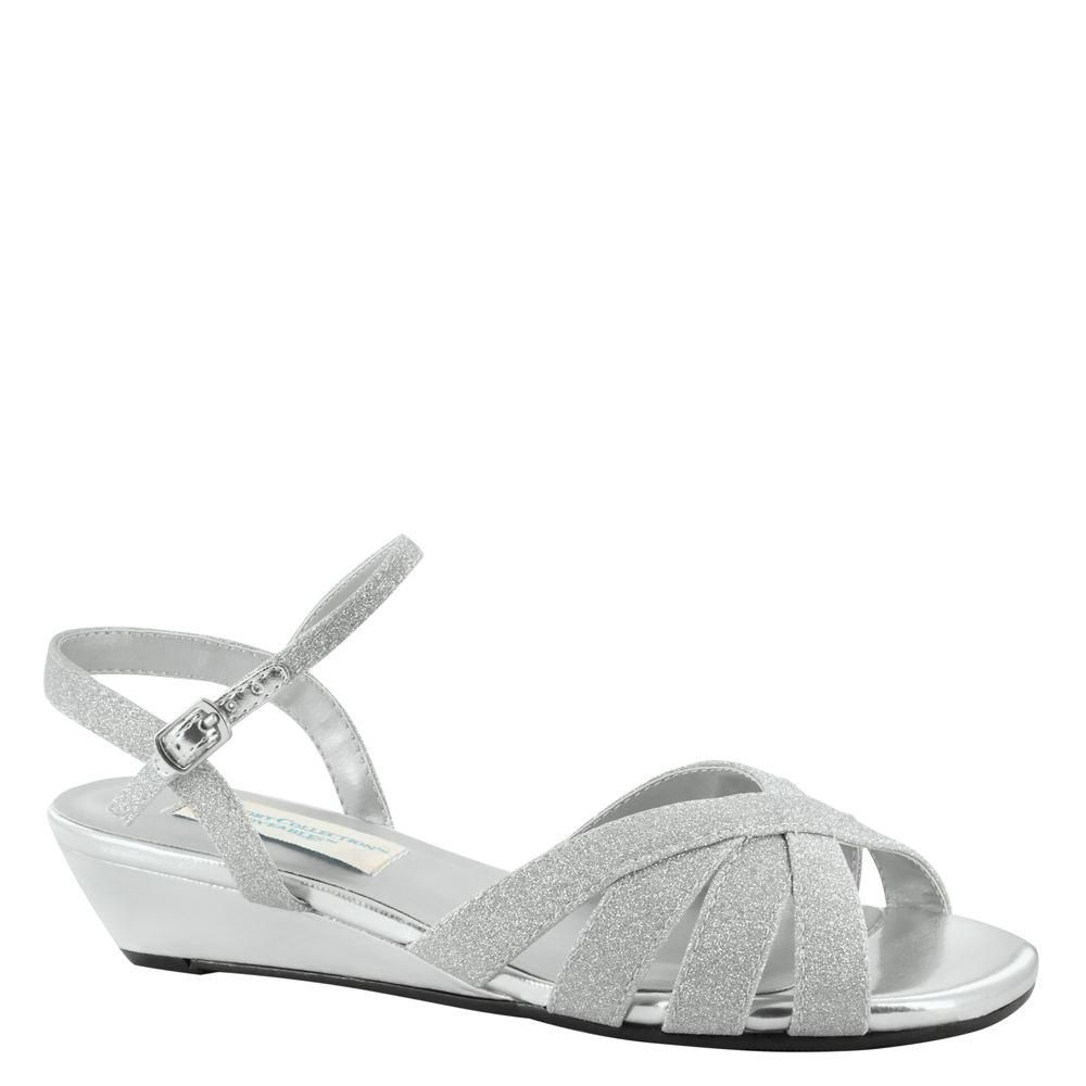 Vintage Wedding Shoes, Flats, Boots, Heels Dyeables Emma Womens Silver Sandal 8 W $69.95 AT vintagedancer.com