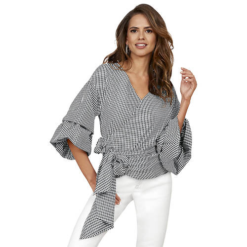 Gingham Wrap-Front Top