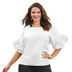 Pleated Ruffle-Sleeved Shirt