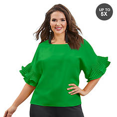 Pleated Ruffle-Sleeved Shirt