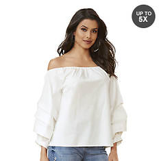 Off-Shoulder Tiered-Sleeve Top