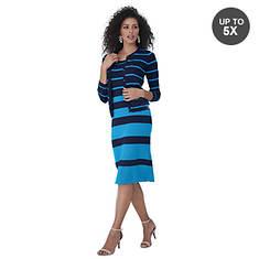Stripe Knit Dress With Jacket