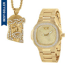 Bling Master Men's Watch and Necklace Set