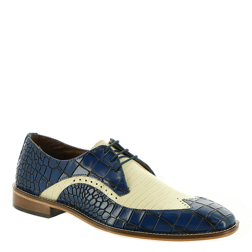 Men's 1950s Shoes Styles- Classics to Saddles to Rockabilly Stacy Adams Trazino Mens Blue Oxford 11.5 M $89.95 AT vintagedancer.com
