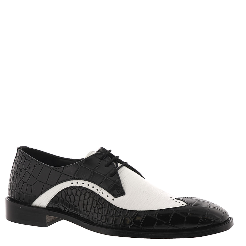 Men's 1950s Shoes Styles- Classics to Saddles to Rockabilly Stacy Adams Trazino Mens Black Oxford 7 M $44.99 AT vintagedancer.com