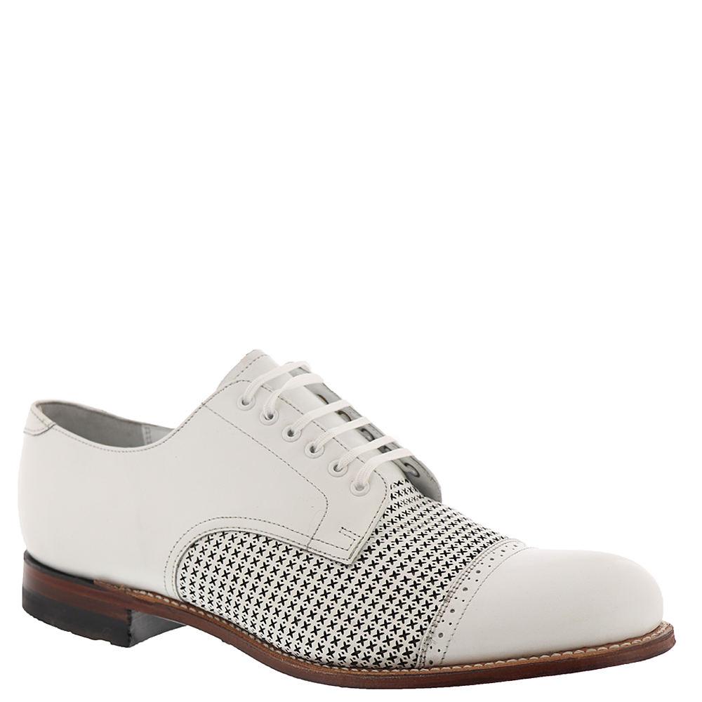 1930s Men's Shoe Styles, Art Deco Era Footwear Stacy Adams Madison Cap Toe Oxford Mens White Oxford 7.5 M $129.95 AT vintagedancer.com