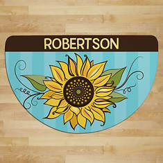 Personalized Pretty Sunflower 1/2 Rnd Doormat