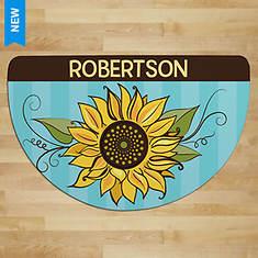 Personalized Pretty Sunflower 1/2 Rnd Doormat