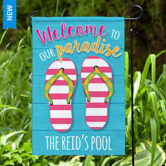 Personalized Welcome Paradise Garden Flag