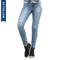 Side Destructed Cutout Skinny Jean