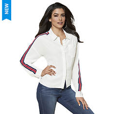Stripe-Sleeve Button-Up Top