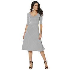 Fit-And-Flare U-Neck Stripe Dress