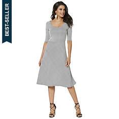 fbc44df4bf Fit-And-Flare U-Neck Stripe Dress