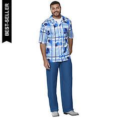 Men's Plaid Shirt & Pant Set