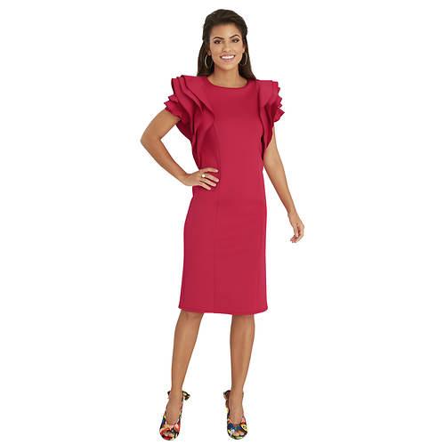 Cascading Ruffle-Sleeved Dress