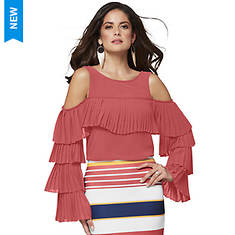 Pleated Ruffle-Sleeved Mesh Top