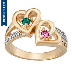 Personalized Birthstone/Diamond Couples Ring