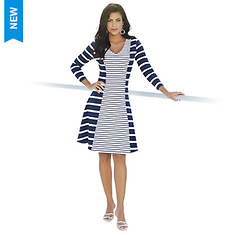 Three-Quarter Sleeve Fit-and-Flare Dress