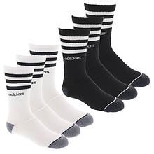 adidas Boys' 3 Stripe 6-Pack Crew Socks