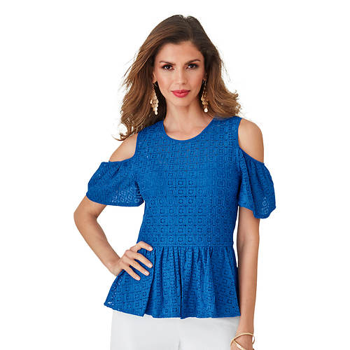 Cold Shoulder Ruffle Lace Top