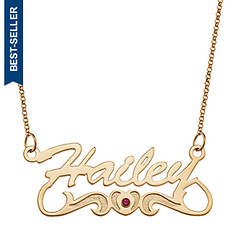 Personalized Name Necklace with Birthstone Heart