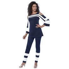 Cold Shoulder Colorblock Pant Set