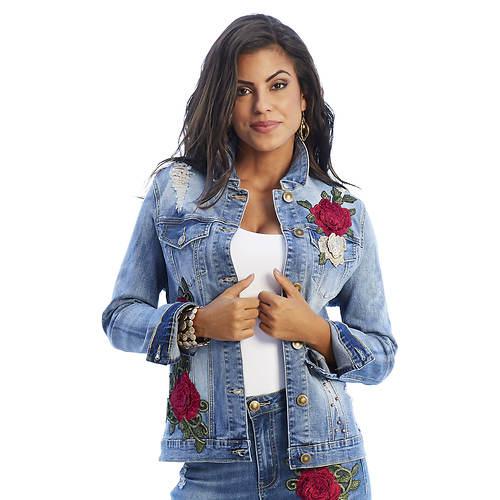 Floral Appliqué Denim Jacket