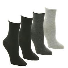 Steve Madden Women's SM39968D 4PK Roll Top Anklets