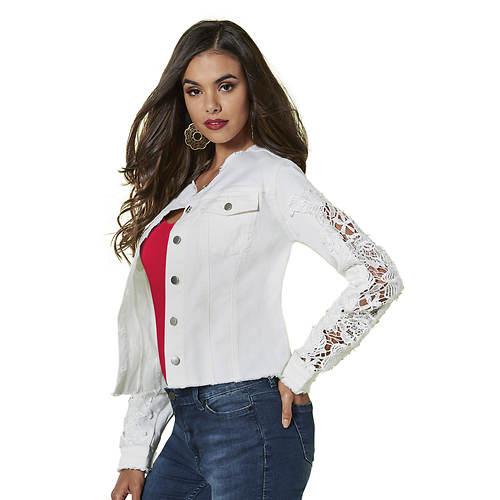 Cutout Lace-Sleeve Jacket