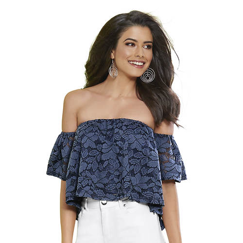 Denim Lace Off-Shoulder Top