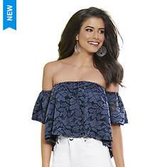 Denim Lace Off-Shoulder Top