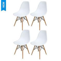 AmeriHome 4-Piece Wooden Leg Accent Chair Set
