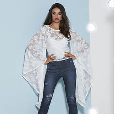 Dramatic-Sleeve Lace Top