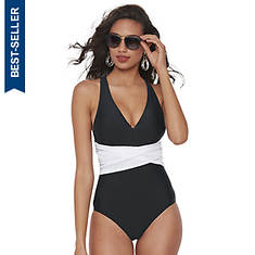 Color-Belted One-Piece Swimsuit