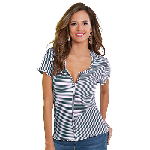 Sexy Button-Front Henley