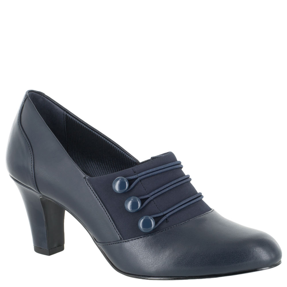 What Did Women Wear in the 1940s? 40s Fashion Trends Easy Street Pearl Womens Navy Pump 6 N $59.95 AT vintagedancer.com