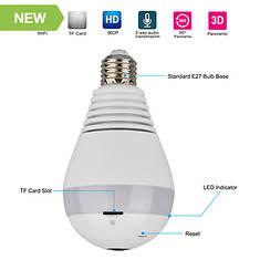 Kocaso 360° Panoramic 960P Covert WiFi Security IP Camera Light Bulb