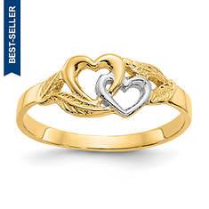 14K Double Heart Ring