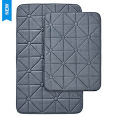 Prism-Pattern Memory Foam Bath Mat Set
